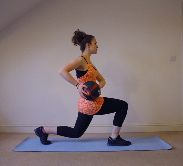 7 Great At Home Medicine Ball Workouts Lunge Twist